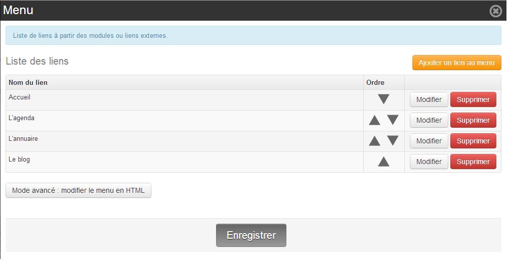 Ajout lien menu horizontal