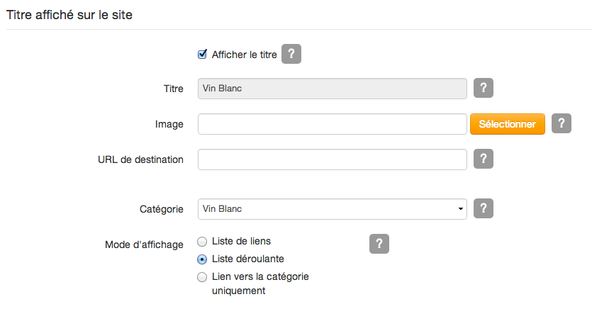 Configurer widget menu